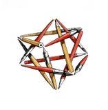 Gwiazdowy czworościan muśnięcia, ołówki, pióra - kolor royalty ilustracja