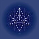 Gwiazdowy czworościan od Metatrons sześcianu, świętej geometrii wektorowa ilustracja na technicznym papierze ilustracji