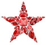 Gwiazdowy kształta symbol od czerwonych rubinowych klejnotów odizolowywających na bielu Zdjęcie Royalty Free