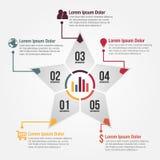 Gwiazdowy kształta wektor Infographic Obrazy Stock