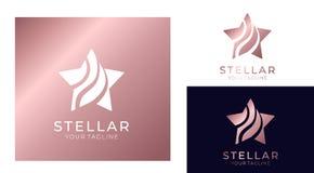 Gwiazdowy logo Ogólnoludzki abstrakcjonistyczny logo z gwiazdowym symbolem dla jakaś biznesu Gwiazdowy znak lider, sukces i władz ilustracji