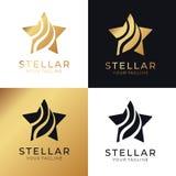 Gwiazdowy logo Ogólnoludzki abstrakcjonistyczny logo z gwiazdowym symbolem dla jakaś biznesu Gwiazdowy znak lider, sukces i władz royalty ilustracja