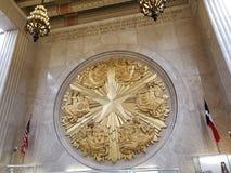 Gwiazdowy symbol w Teksas Hall buduje w jarmarku parku stan obraz royalty free