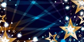 Gwiazdowy złocisty błękitny noc sztandar Fotografia Royalty Free