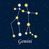 Gwiazdozbioru gemini zodiaka horoskopu astrologia gra główna rolę nocy illu ilustracji