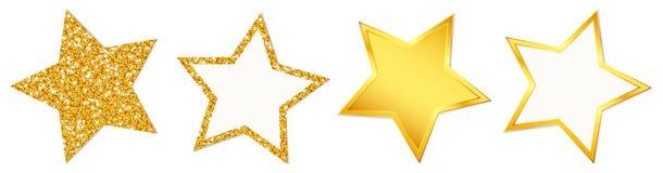 4 gwiazdy Błyska Błyszczeć Złoty ilustracja wektor