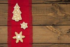 Gwiazdy i choinka Imbirowy chleb jako tło Obraz Royalty Free