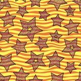 Gwiazdy i fala bezszwowy wzór dla owinięcie papieru, backgrouns i tkaniny, jaskrawi wakacji kolory Zdjęcia Royalty Free