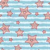 Gwiazdy i lampas bezszwowa tekstura dla owinięcie papieru, tło i kolorów, tkaniny, cukierku i morza, Zdjęcie Stock
