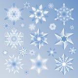 Gwiazdy i płatka śniegu ikony set Obrazy Royalty Free