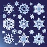 Gwiazdy i płatka śniegu ikony set Zdjęcia Stock
