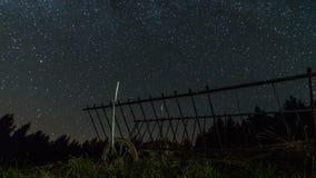 Gwiazdy niebo z milky sposobem nad końskim fura czasu upływu dolly strzałem zbiory