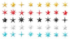 Gwiazdy różni geometryczni kształty Metal, folia, papier różni kolory Dekoracyjny set dla wakacji, wydarzenia, nagrody Obraz Royalty Free