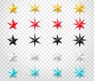 Gwiazdy ustawiają różni kolory na przejrzystym tle Dekoracja projekta element dla twój projekta Fotografia Stock