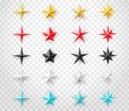 Gwiazdy ustawiają różni kolory na przejrzystym tle Dekoracja projekta element dla twój projekta Obrazy Royalty Free