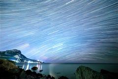 Gwiazdy w postaci linii Południowy Crimea Od czasu upływu Fotografia Royalty Free