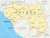 Gwinei polityczna mapa ilustracja wektor