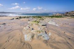 Gwithian beach near godrevy lighthouse Stock Photography