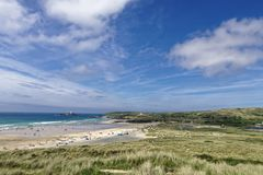 The Gwithian Shoreline. A stunning view of the Gwithian shoreline across the sand dunes stock image