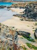 Gwithian strand på lågvatten arkivfoton