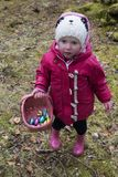 A little Easter egg hunter royalty free stock photo