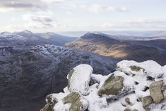 Ice topped mountains in Scotland. royalty free stock image