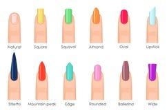 Gwoździa kształta ikony ustawiać Typ mody colour jaskrawy gwóźdź kształtują kolekcję Moda przybija typ trend Piękno zdrój ilustracji