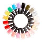 Gwoździa połysku butelek kolorowy okrąg obraz stock