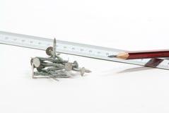 gwoździe pencil władcy zdjęcie stock