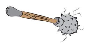 Gwożdżąca buława, blund broń z drewnianą rękojeścią Fotografia Royalty Free