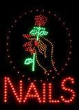 Gwoździa salonu neonowy znak Fotografia Royalty Free