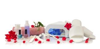 Gwoździa zdroju pedicure z wyposażeniem i manicure Obrazy Stock