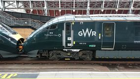 Gwr Paddington express train. Called Paddington bear these high speed trains are in bran new green livery Stock Images