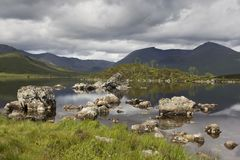 A remote loch in the Scottish Highlands stock photo