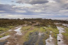 A lonely and deserted beach in the north of Scotland stock photo