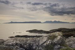 A beautiful view of the Scottish Isle of Skye on a still and clear evening royalty free stock images