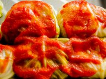Gwumkies στενό επάνω σε έτοιμο σάλτσας για το φούρνο Στοκ Φωτογραφία