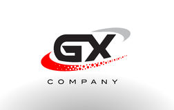 GX σύγχρονο σχέδιο λογότυπων επιστολών με κόκκινο διαστιγμένο Swoosh ελεύθερη απεικόνιση δικαιώματος