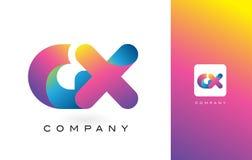 GX de Mooie Kleuren van Logo Letter With Rainbow Vibrant Kleurrijk t Royalty-vrije Stock Foto
