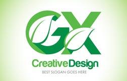 GX Green Leaf Letter Design Logo. Eco Bio Leaf Letter Icon Illus Royalty Free Stock Photos