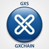 GXCHAIN het pictogram van muntstukcryptocurrency blockchain Virtueel elektronisch, Internet-geld of cryptocoin symbool, embleem stock illustratie
