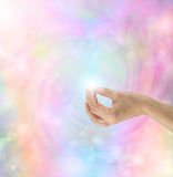 Gyan Mudra Hand Position. With bright rainbow energy vortex in background Royalty Free Stock Photos