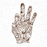 Gyan Mudra Mudra της γνώσης Διανυσματικά χέρια χειρονομίας γιόγκας Στοκ Εικόνα