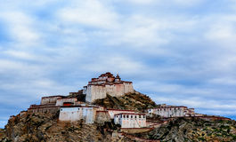 Gyantse fort. The clouds covered famous Gyantse fort in Tibet of China Royalty Free Stock Images