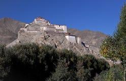 Gyantse fästning i Tibet Arkivbild