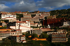 Ganden Monastery near Lhasa. In central Tibet royalty free stock image