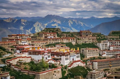 Ganden Monastery near Lhasa. Buildings of a Ganden monastery near Lhasa in central Tibet Royalty Free Stock Images