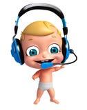 Gyckel behandla som ett barn med den Head telefonen Royaltyfria Bilder