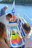 Gyckel för glidbana för kryssningfartygvatten Arkivbild