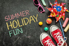 Gyckel för sommarferie, affischdesign, barndom fotografering för bildbyråer